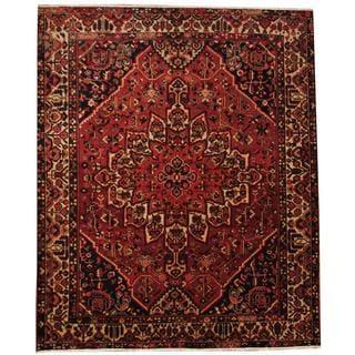 Herat Oriental Semi-antique 1940's Persian Hand-knotted Bakhtiari Maroon/ Navy Wool Rug (10'4 x 12'4)