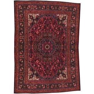 Herat Oriental Semi-antique 1920's Persian Hand-knotted Mashad Maroon/ Navy Wool Rug (10'2 x 13'3)