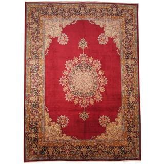 Herat Oriental Semi-antique 1940's Persian Hand-knotted Kirman Red/ Beige Wool Rug (9'9 x 13'5)