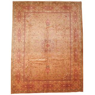 Herat Oriental Semi-antique 1940's Persian Hand-knotted Kashan Gold/ Salmon Wool Rug (9'10 x 12'9)