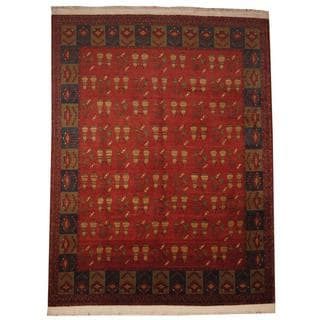Herat Oriental Afghan Hand-knotted Khal Mohammadi Rust/ Navy Wool Rug (9'7 x 13')