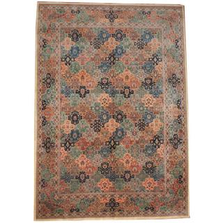 Herat Oriental Indo Hand-knotted Tabriz Light Blue/ Peach Wool Rug (10' x 14'1)