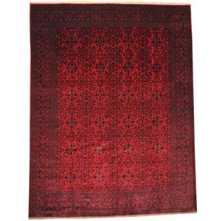 Herat Oriental Afghan Hand-knotted Khal Mohammadi Maroon/ Navy Wool Rug (9'7 x 12'7)