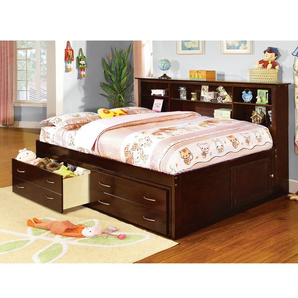 furniture of america revesia captain bed with storage drawer and bookcase headboard 16358284. Black Bedroom Furniture Sets. Home Design Ideas