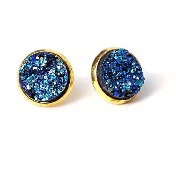Pretty Little Style Goldtone Druzy Stud Earrings