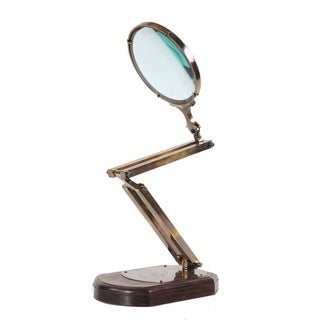 Large Brass Magnifier Glass On Wooden Base Decorative Accessory