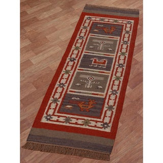 Hand-woven Tribal Wool & Jute Runner Rug (2'6 x 8')