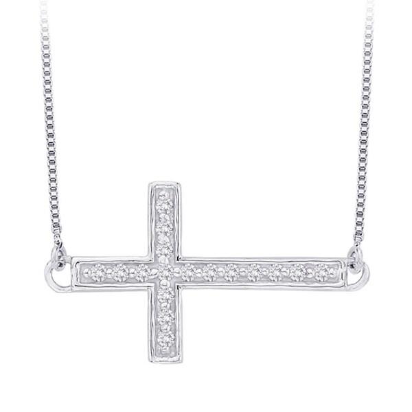 10k White Gold 1/10ct TDW Diamond Sideways Cross Necklace