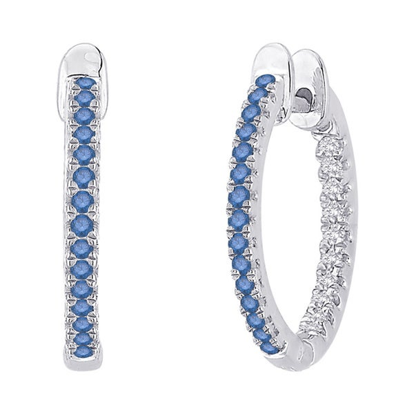 10k White Gold 3/4ct Blue and White Diamond Hoop Earrings (G-H, I2-I3)