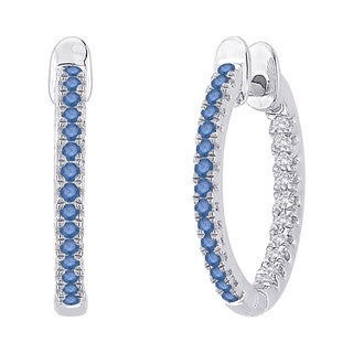 10k White Gold 3/4ct Blue and White Diamond Hoop Earrings (G-H, I2-I3)