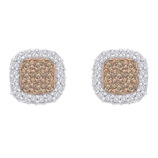 10k White Gold 1/2ct Brown and White Diamond Earrings (G-H, I2-I3)