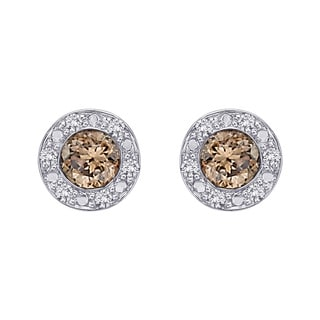 10k White Gold 1/3ct Brown and White Diamond Halo Earrings (G-H, I2-I3)