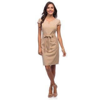 Ellen Tracy Women's Beige Short Sleeve Career Sheath Dress