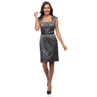 Ellen Tracy Women's Sleeveless Bonded Lace Cut-out Neck Dress
