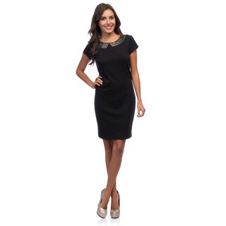 Ellen Tracy Women's Black Beaded Round Neck Ponte Dress