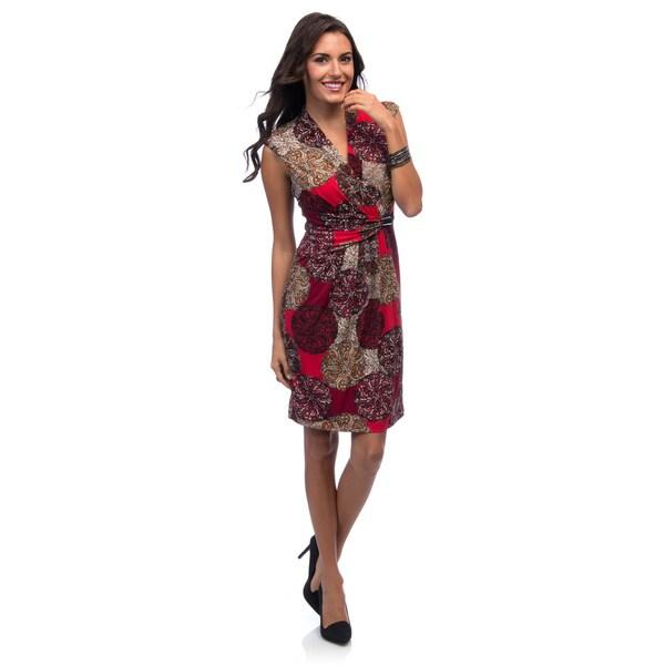 Ellen Tracy Women's V-neck Side Gathered Jersey Dress