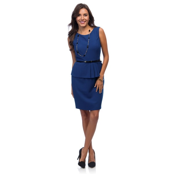 Ellen Tracy Women's Sleeveless Belted Peplum Dress