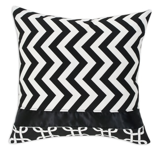 Zig-Zag Black Horizontal Stripe 19-inch Throw Pillow