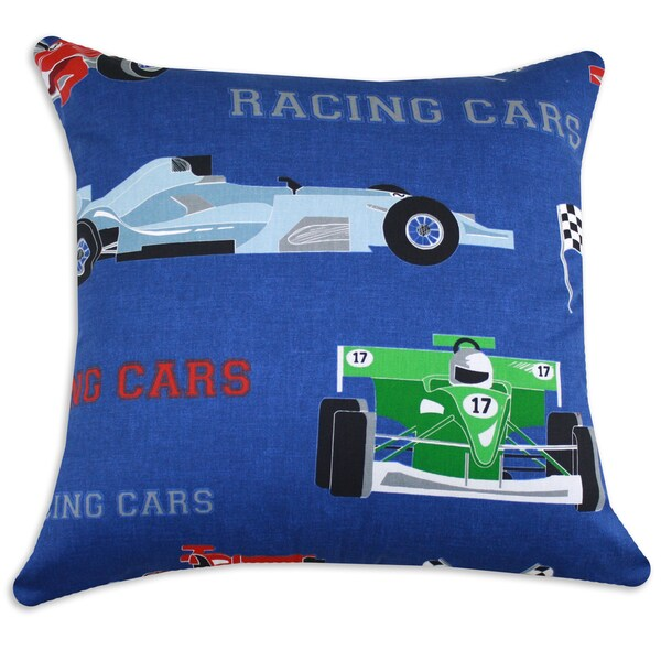 Race Cars Denim 19-inch Throw Pillow