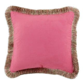 Passion Suede Dusty Rose 17-inch Fringed Throw Pillow