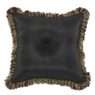 Shantung Night Self Black 17-inch Fringed Throw Pillow