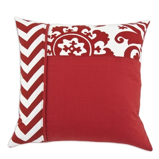 Red and White 17-inch Vertical Corded Throw Pillow