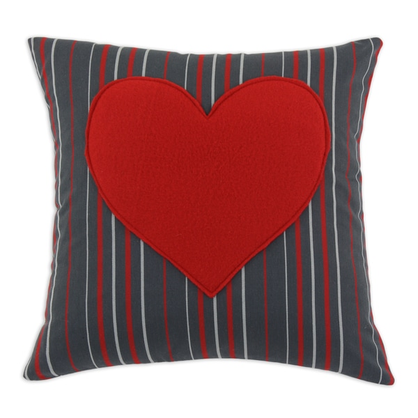 Multi Stripe Charcoal 17-inch Heart Throw Pillow