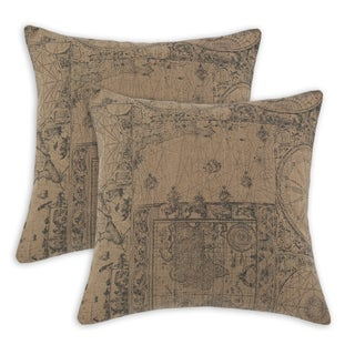 World Map Self Backed 17-inch Throw Pillows (Set of 2)