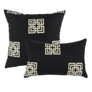 Key Black Embroidered 17-inch Throw Pillows (Set of 2)