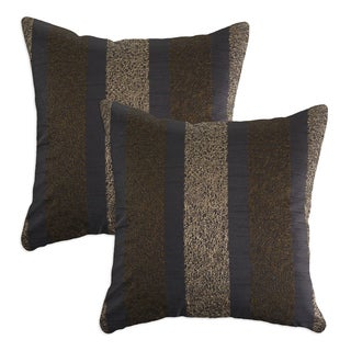 Blaze Black Embroidered 17-inch Throw Pillows (Set of 2)