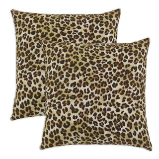 Amazon Sand Leopard Print Self Backed 17-inch Throw Pillow