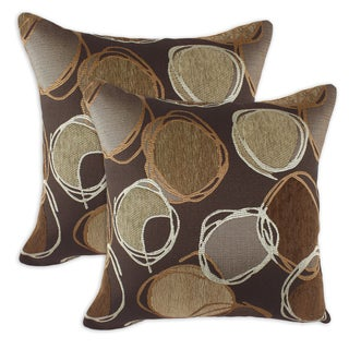 Piper Chocolate 17-inch Throw Pillow (Set of 2)