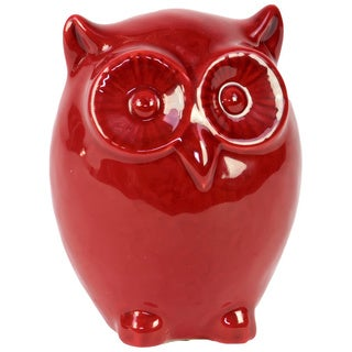 Small Red Ceramic Owl Decorative Accessory