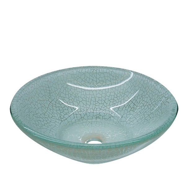 Crackled Round Glass Basin