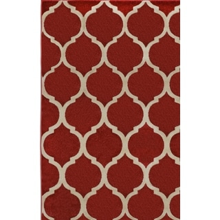 Antique Transitional Red Cream Area Rug (5'3 x 7'7)
