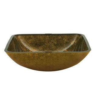 Yosemite Home Decor Antique Gold Square Glass Basin