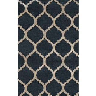 Antique Transtional Navy Cream Area Rug (5'3 x 7'7)