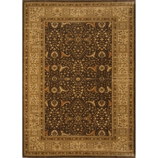 Antique Traditional Brown Cream Area Rug (5'3 x 7'7)