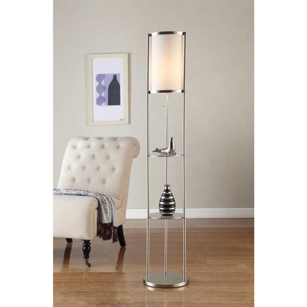 inch brushed steel floor lamp with durable glass shelf and silk shade. Black Bedroom Furniture Sets. Home Design Ideas