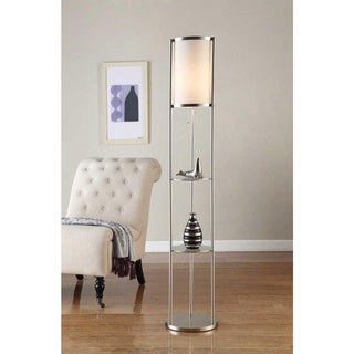Artiva USA Exeter Modern 63-inch Brushed Steel Floor Lamp with Durable Glass Shelf and Silk Shade