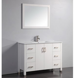 Ceramic Top 48-inch White Bathroom Vanity and Matching Framed Mirror and Faucet