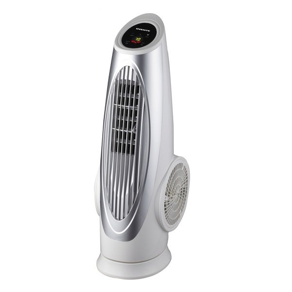 Ovente TF88W Cool Breeze White Tower Fan with Remote Control and LCD Panel