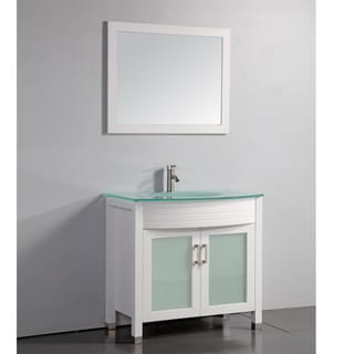 Tempered Glass Top White 36-inch Bathroom Vanity with Matching Framed Mirror and Faucet