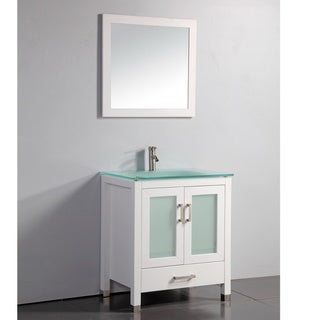 Tempered Glass Top White 30-inch Bathroom Vanity with Matching Framed Mirror and Faucet
