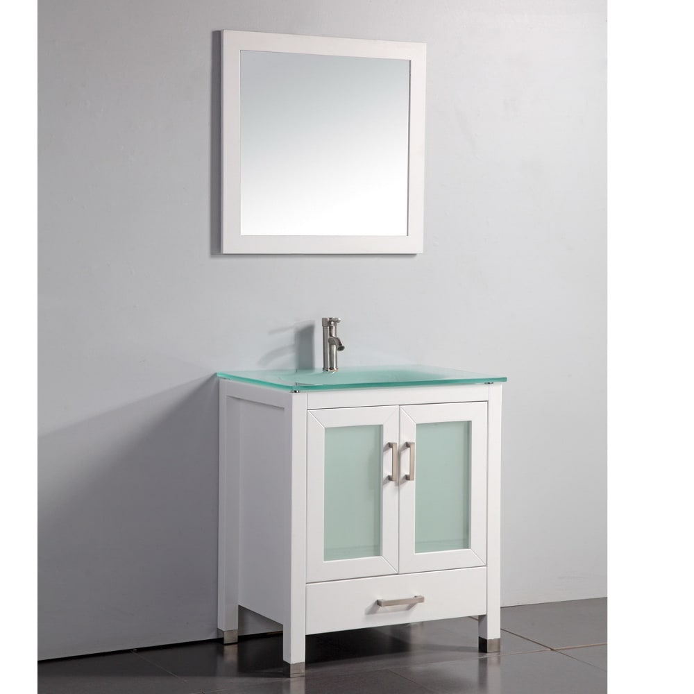 Tempered glass top white 30 inch bathroom vanity with for Bathroom 30 inch vanity