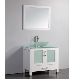 Tempered Glass Top White 36-inch Vessel Sink Bathroom Vanity with Matching Framed Mirror and Faucet