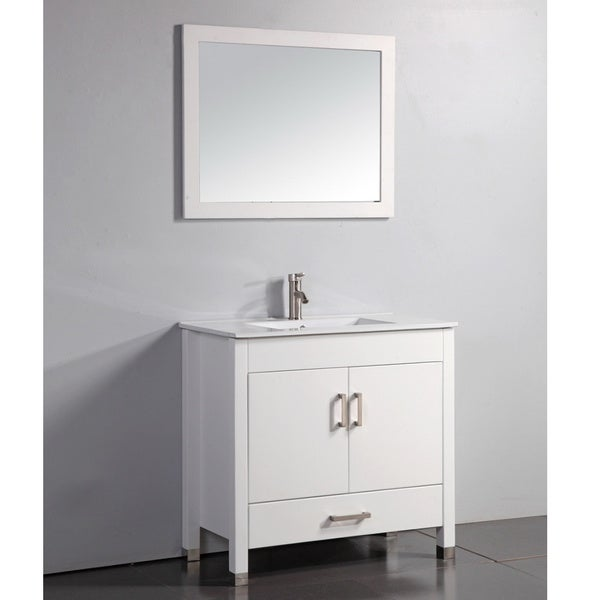 Vanity Art Ceramic Top White 36 Inch Bathroom Vanity With Matching Framed Mir
