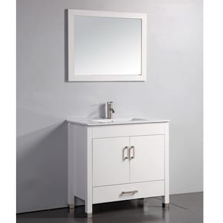 Ceramic Top White 36-inch Bathroom Vanity with Matching Framed Mirror and Faucet