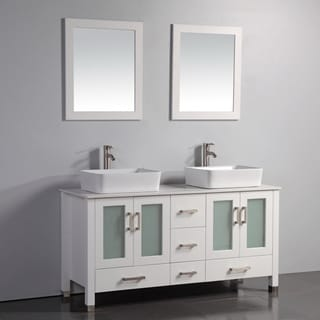 Double Ceramic Sink Artificial Stone Top White 59-inch Bathroom Vanity with Dual Framed Mirrors and Faucets