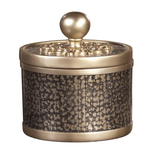 Decorative Round Goldtone Box